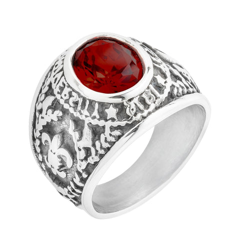 Round Cut Red Stone Ring