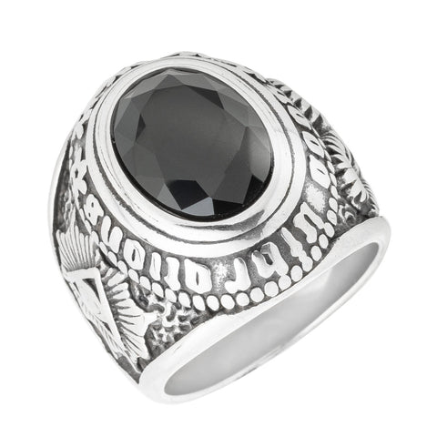 Oval Cut Black Stone Ring