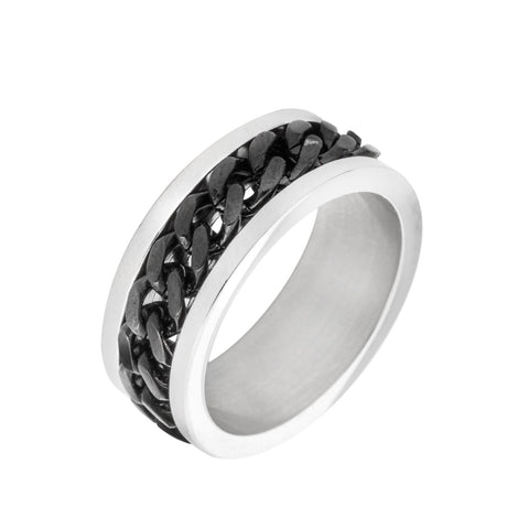 Silver and Black Chainlink Ring
