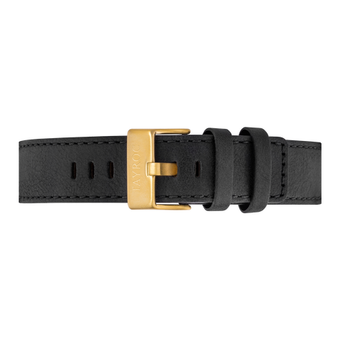 Black Leather Strap/Gold Buckle