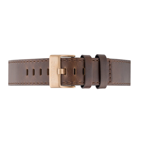 Brown Leather Strap Gold Buckle 22mm