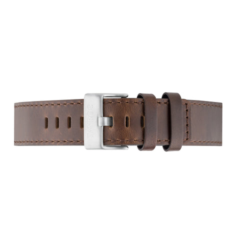 Brown Leather Strap Silver Buckle 22mm