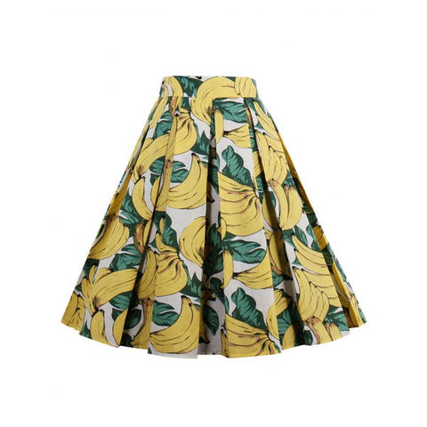 W Skirts - The Hop - Pleated Fruit/Animal Print