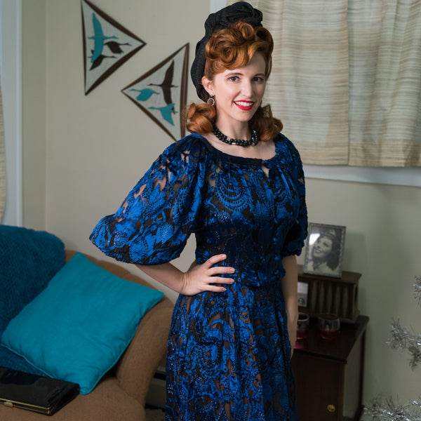 Vintage Black & Blue Jacquard Dress