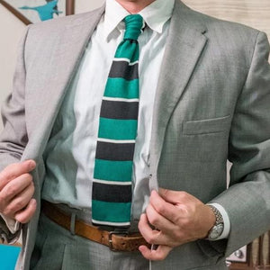 Vintage Woven 1950's Tie - Black/Green/White Stripe