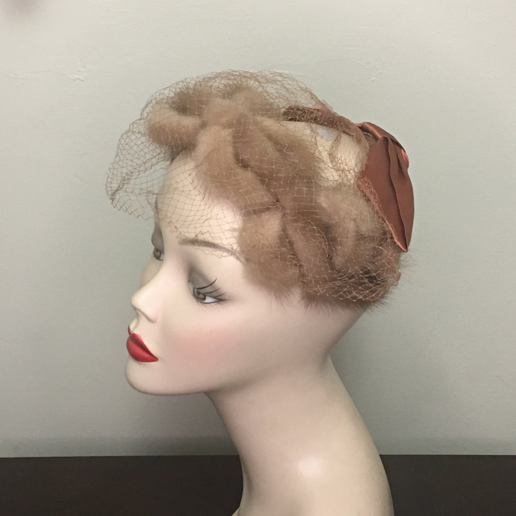 Vintage Women's Hat - Brown Fur