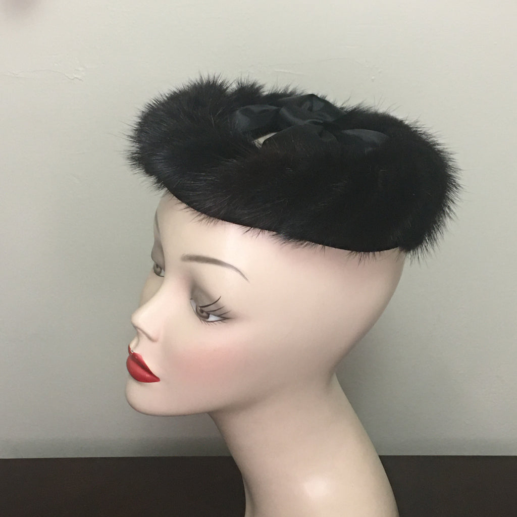 Vintage Women's Hat - Black Fur