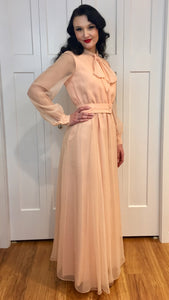 Vintage 1960/70's Pastel Pink Chiffon Gown