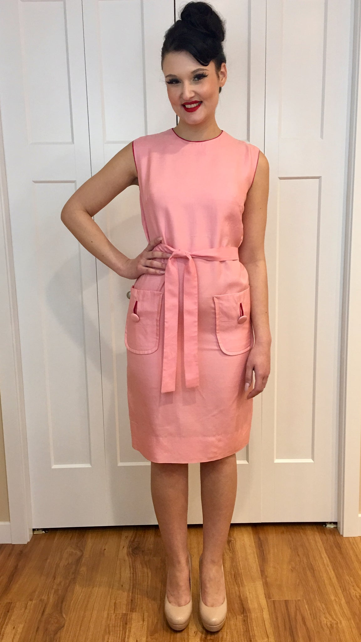 Vintage 1960's Pink Silk Shift Dress