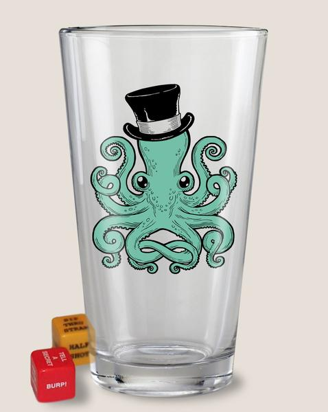 Trixie & Milo Pint Glass with Dice