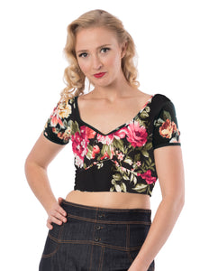 Crop Top in Black and Floral