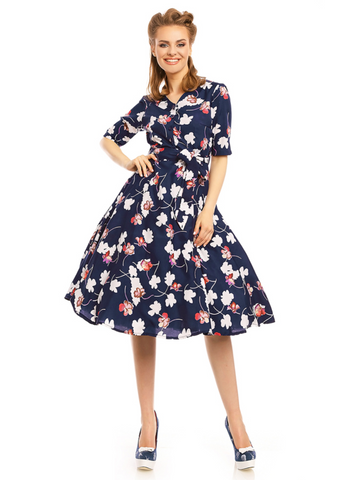 Navy Floral Shirtwaist Dress