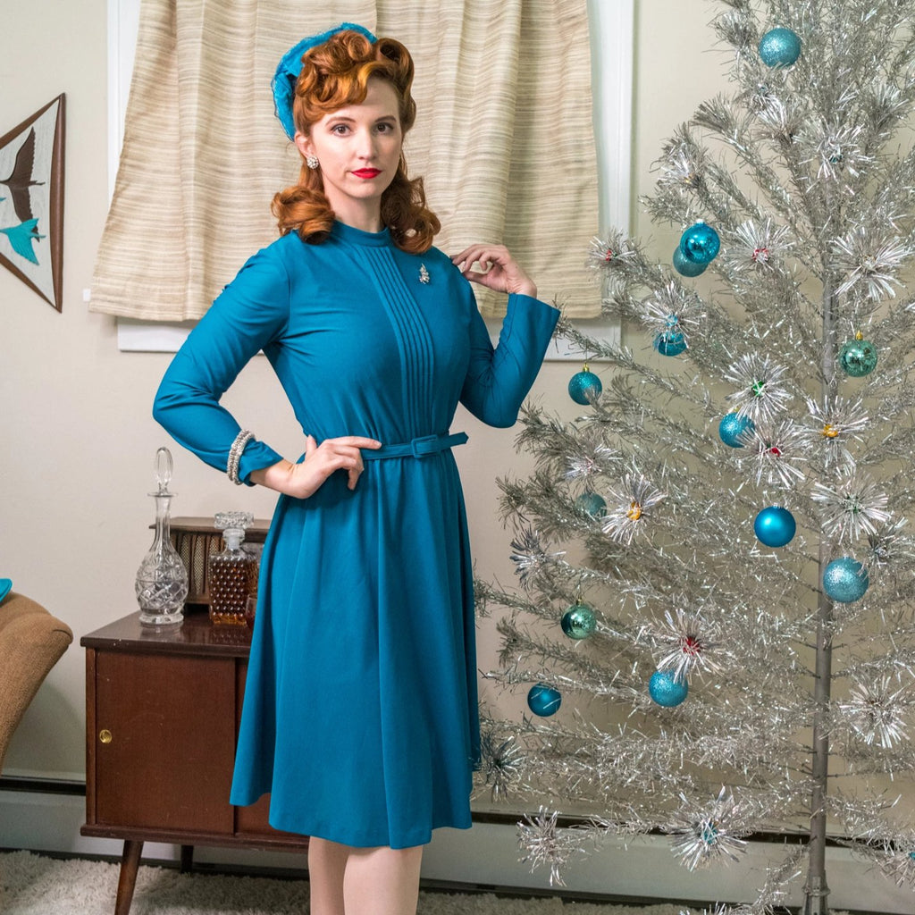 Vintage Teal A-Line Dress with Pleat