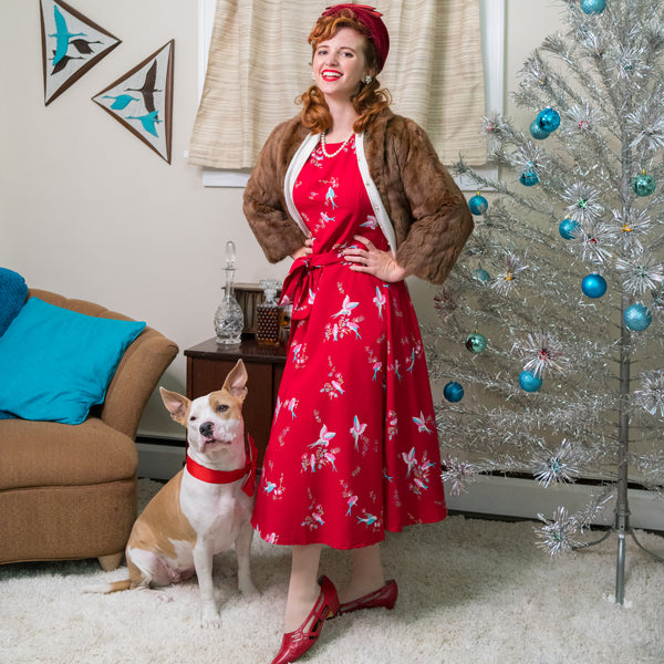 Red Bird Swing Dress