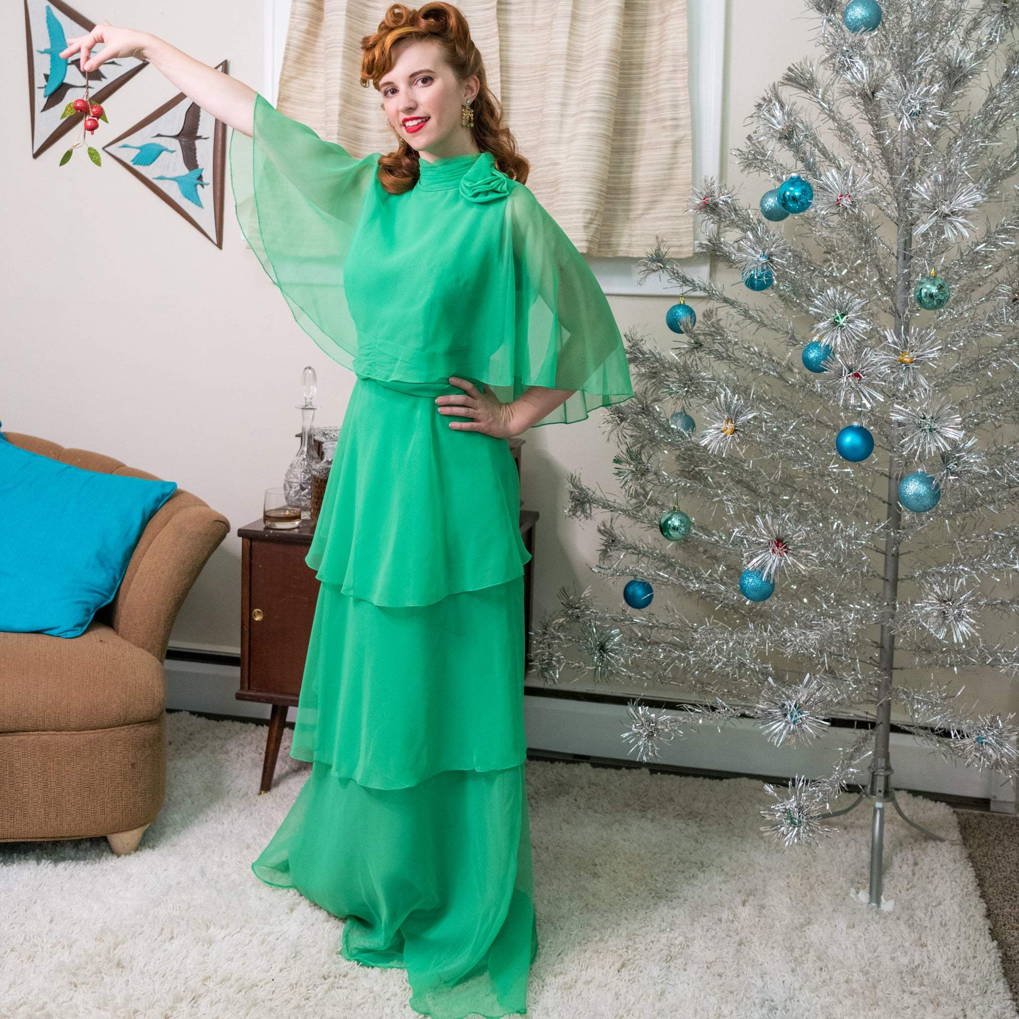 Vintage Green 60's Chiffon Dress