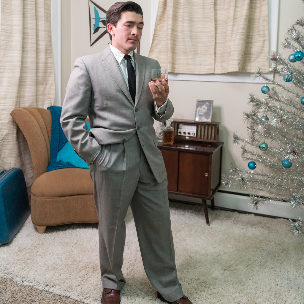 Vintage 1950's Men's Grey Suit