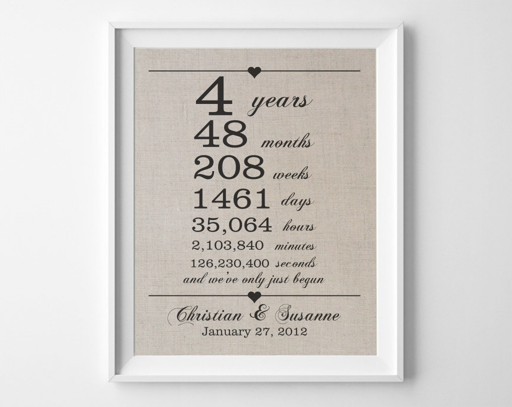 4 Years Together - Linen Anniversary Gift - Anniversary Shoppe