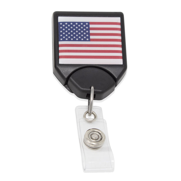 B-REEL™ USA Flag Badge Reel - Black (25/Pack)