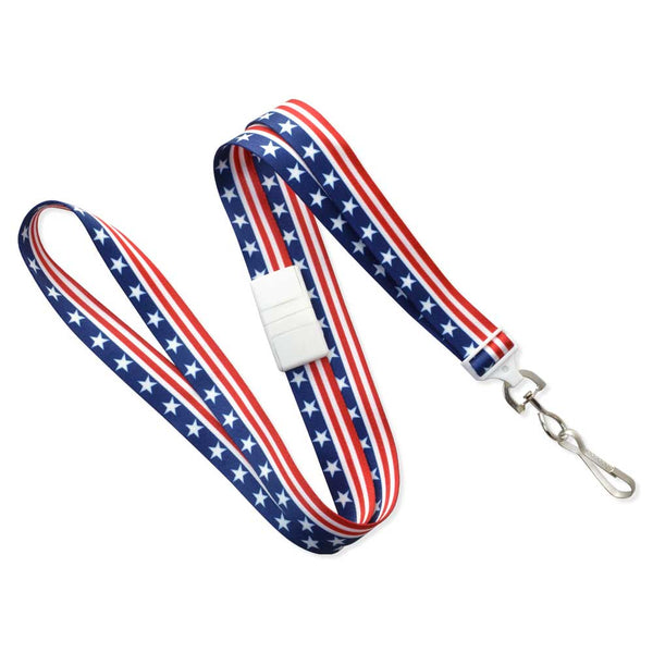 "Patriotic Lanyard - Stars & Stripes 5/8"" (100/Pack) - Wristbands.com"