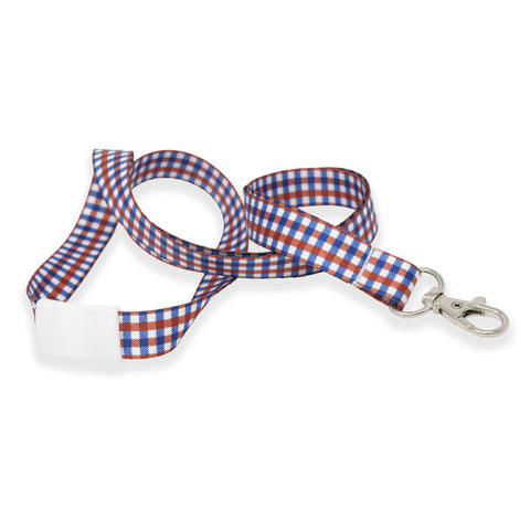"Patriotic Lanyard - USA Flag Plaid Design 5/8"" (100/Pack)"