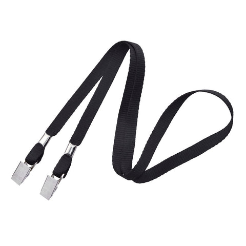 "3/8"" Open Ended Lanyard with Two Bulldog Clips (100/Pack) - Wristbands.com"