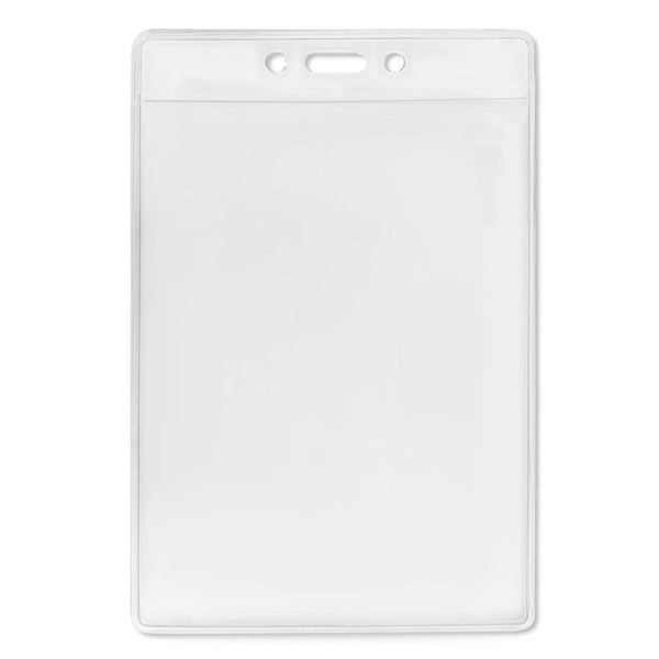 "Vinyl Vertical Badge Holder with Slot and Chain Holes, 3.13"" x 5.25"" Clear (100/Pack)"