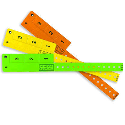 "3-Tab Wrist-Rider® Wristicket® Vinyl 3/4"" Wristbands 3TSP - 500/Box - Wristbands.com, The No.1 Wristband Store in the World"