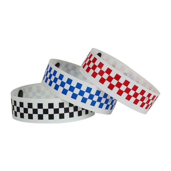 "Superband® Expressions Plastic Wristbands 3/4"" Checkerboard Design 4018 (500/Box) - Wristbands.com"