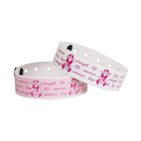 "Superband® Expressions Plastic Wristbands 3/4"" Pink Ribbon Design 4042 (500/Box) - Wristbands.com"
