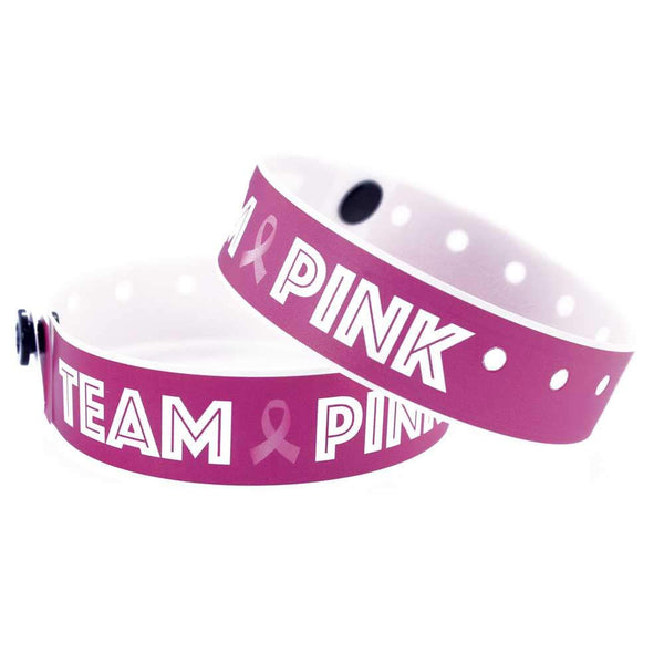 "SuperBand® Expressions Plastic Wristbands 3/4"" Team Pink Design 4063 - Day Glow  Pink (500/Box) - Wristbands.com"