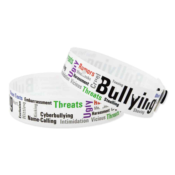"SuperBand® Expressions Plastic 3/4"" Bullying Wristbands 4065 - White - 500/Box"