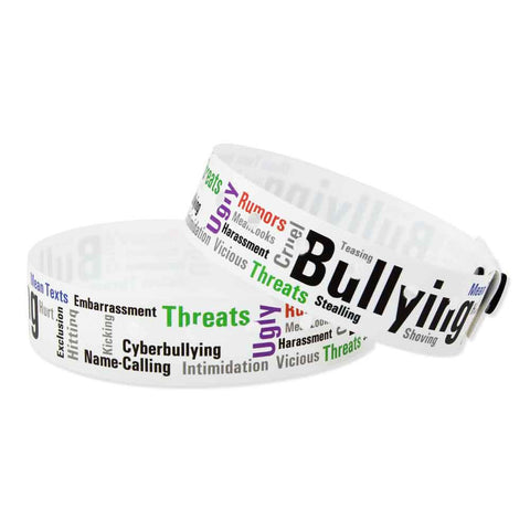 "SuperBand® Expressions Plastic Wristbands 3/4"" Bullying 4065 - White (500/Box) - Wristbands.com"