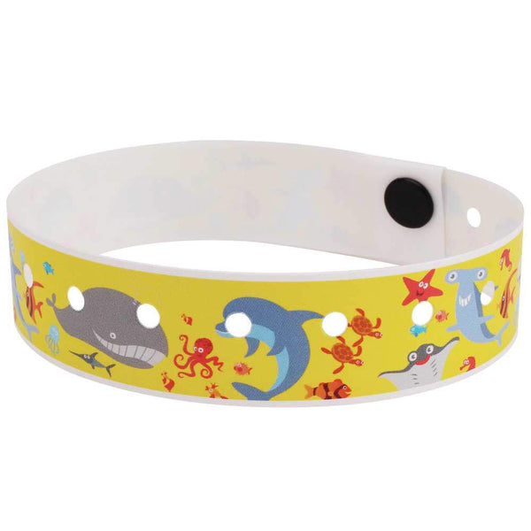 "SuperBand® Expressions Plastic Wristbands 3/4"" Under The Sea Design 4070 - Yellow (500/Box) - Wristbands.com"
