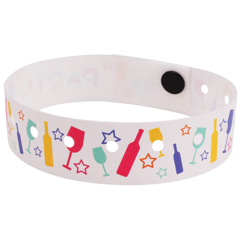 "SuperBand® Expressions Plastic Wristbands 3/4"" Party Pop Design 4073 - White (500/Box) Clearance - Wristbands.com"