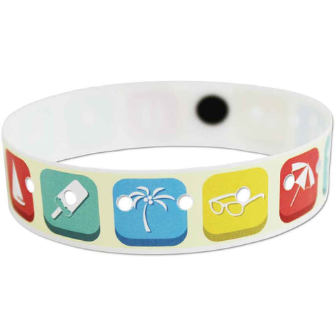 "SuperBand Expressions Plastic Wristbands 3/4"" Beach Design 4075 - Yellow (500/Box) - Wristbands.com"