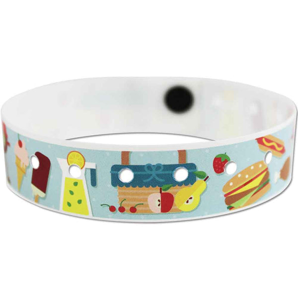 "SuperBand® Expressions Plastic Wristbands 3/4"" Picnic Design 4076 - Light Blue (500/Box) - Wristbands.com"