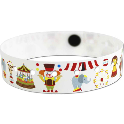 "SuperBand® Plastic Wristbands 3/4"" Circus Design 4077 - White (500/Box) - Wristbands.com"