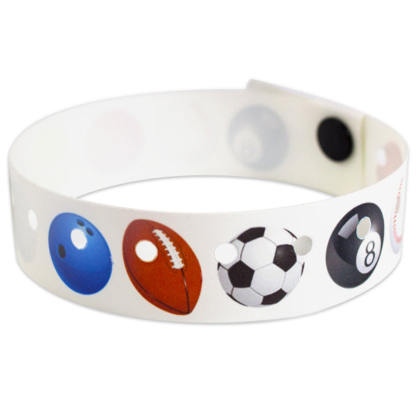"SuperBand® Expressions Plastic Wristbands 3/4"" Sports Design 4079 - White (500/Box) - Wristbands.com"