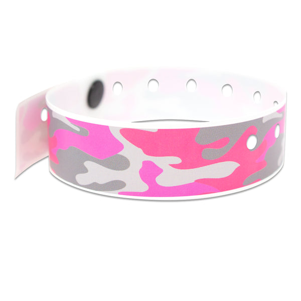 "SuperBand® Expressions Plastic Wristbands 3/4"" Pink Camo Design 4081 (500/Box) - Wristbands.com"