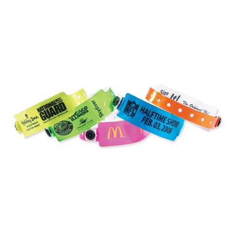 "QUICK SHIP 1"" Custom Vinyl Wristbands Imprinted Snap Closure 420P (500/Box) - Wristbands.com"