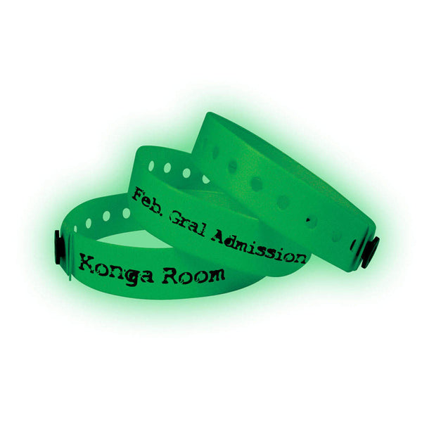 "1/2"" Custom Vinyl Wristbands Imprinted Snap Closure 430G Glow in Dark - (500/Box) - Wristbands.com"