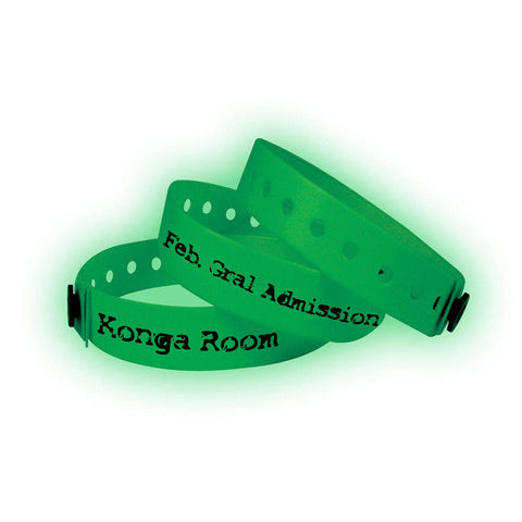 "Vinyl 1/2"" Custom Imprinted Wristbands Snap Closure 430G Glow in Dark - 500/Box - Wristbands.com, The No.1 Wristband Store in the World"