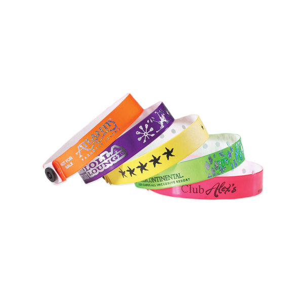 "1/2"" Custom Vinyl Wristbands Imprinted Snap Closure 430P (500/Box) - Wristbands.com"