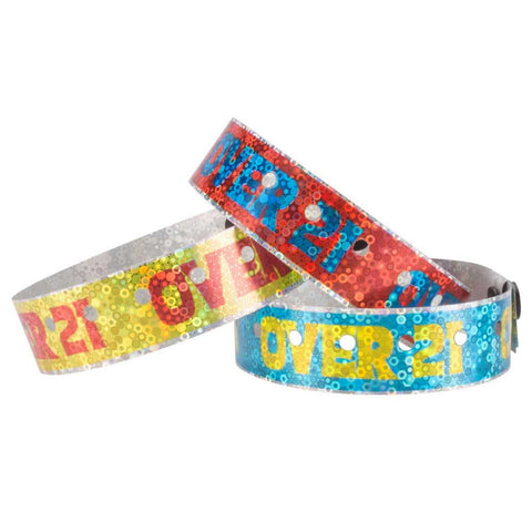 "Liquid Glitter® Holographic Expressions 3/4"" Over 21 Design Wristbands - 4480HS - 500/Box - Wristbands.com, The No.1 Wristband Store in the World"