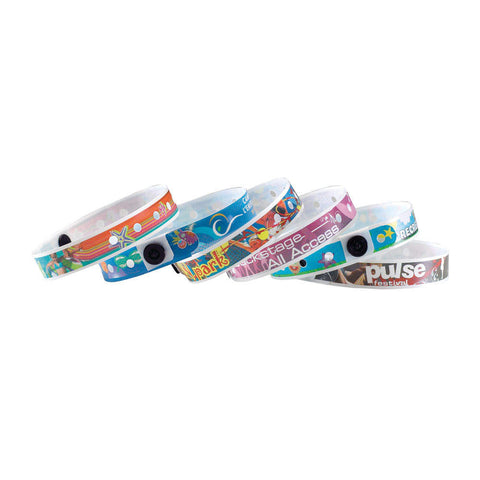 "SureImage® SecurSnap® Custom Plastic Wristbands 1/2"" Imprinted 460SI Snap Closure (500/Box) - Wristbands.com"