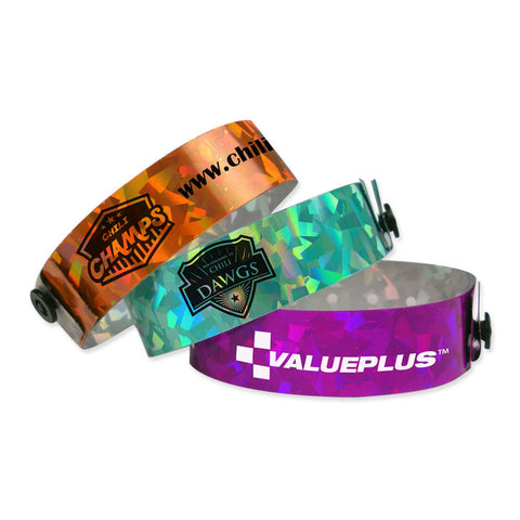 "Confetti Holographic 3/4"" Custom Imprinted Wristbands 4800 - Wristbands.com, The No.1 Wristband Store in the World"