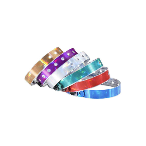 "Kaleidoscope® Holographic Plastic Wristbands 1/2"" 480P (500/Box) - Wristbands.com"