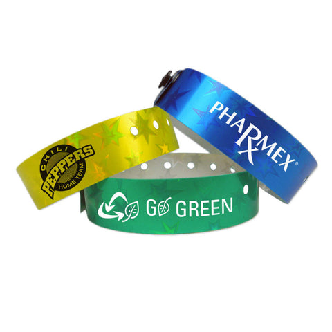 "Imprinted Stars 3/4"" Custom Holographic Wristbands 4830 (500/Box) - Wristbands.com"