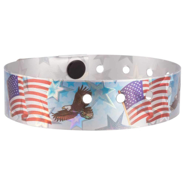 "Holographic Expressions Plastic Wristbands 3/4"" American Eagle Design 4830HS - Light Blue (500/Box) - Wristbands.com"