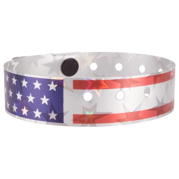 "Holographic Expressions Plastic Wristbands 3/4"" Stars & Stripes Design 4831HS - Silver (500/Box) - Wristbands.com"